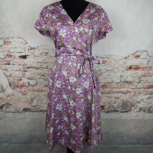 Land's End 10 Purple Floral Cotton Surplice Dress